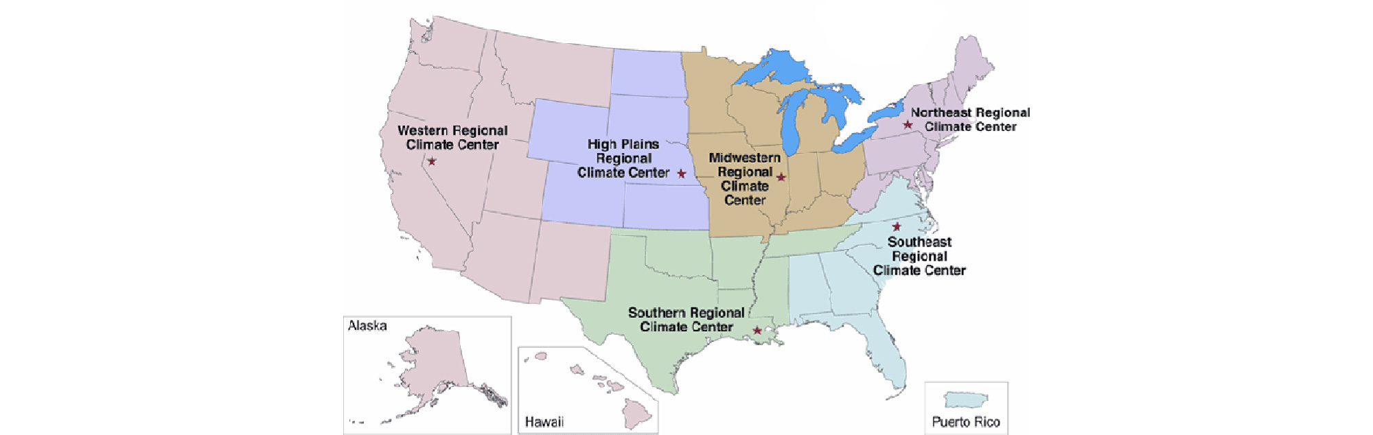 Map showing the six NOAA Regional Climate Centers.