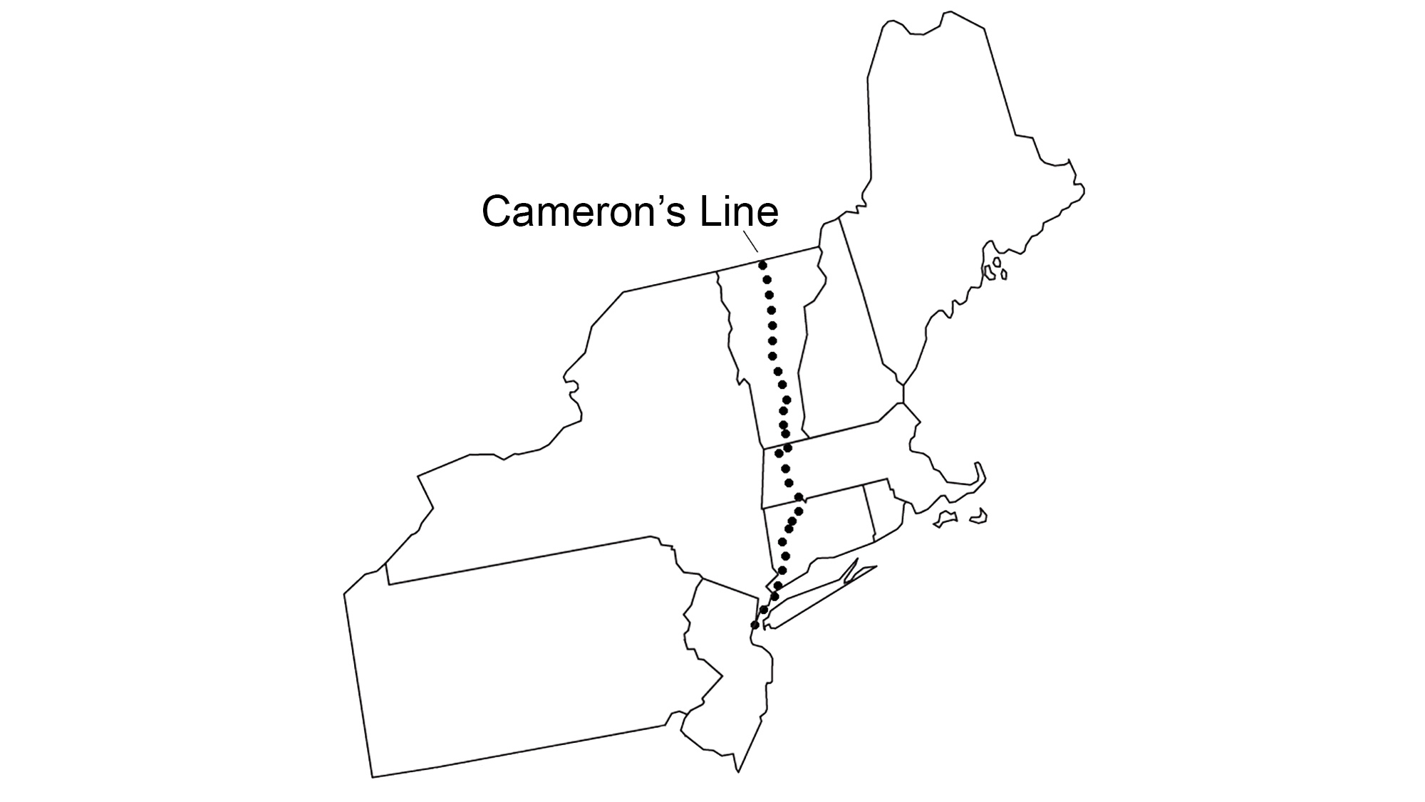 Map of the northeastern U.S. showing the position of Cameron's Line.