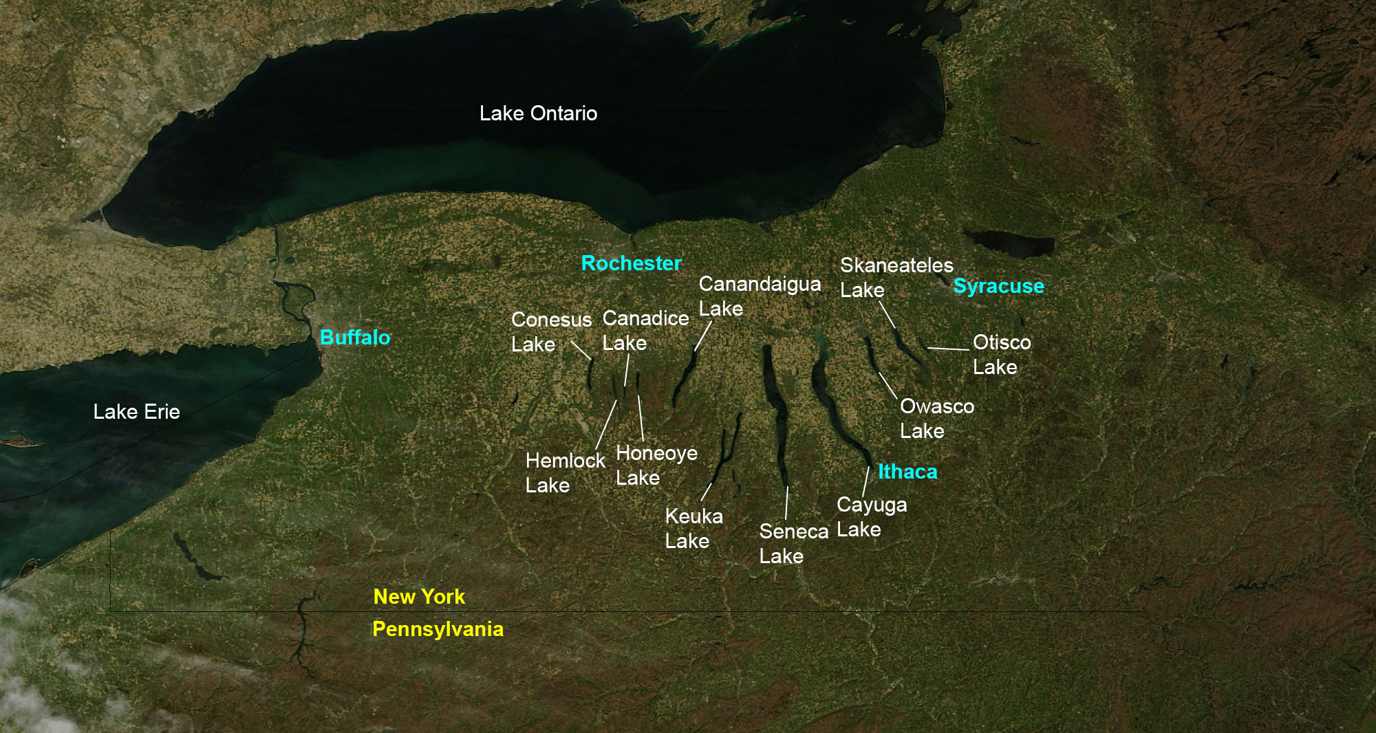 Satellite image of the Finger Lakes region, with each individual lake identified.