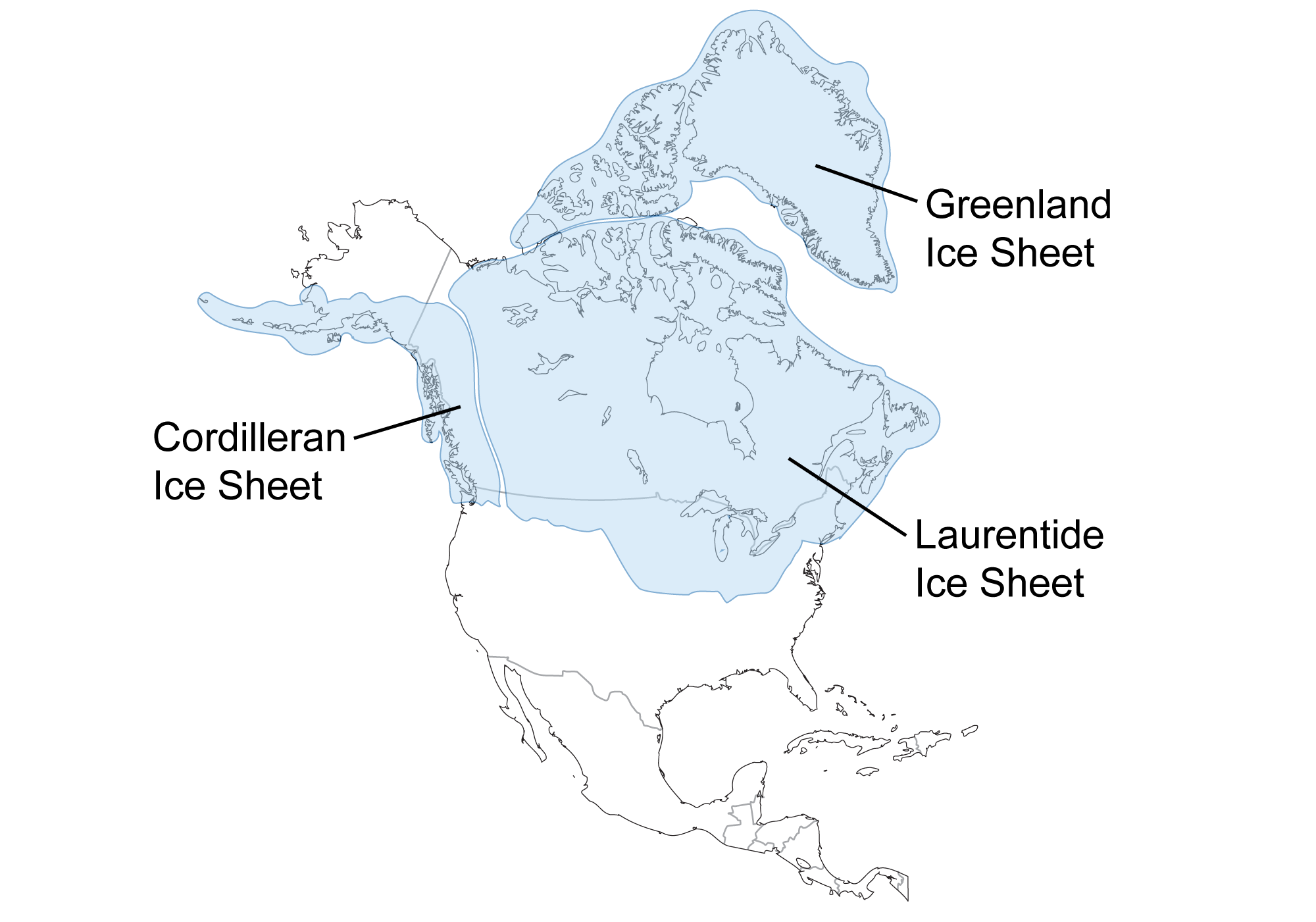 Map of North America showing the extent of glaciation during the last glacial maximum.