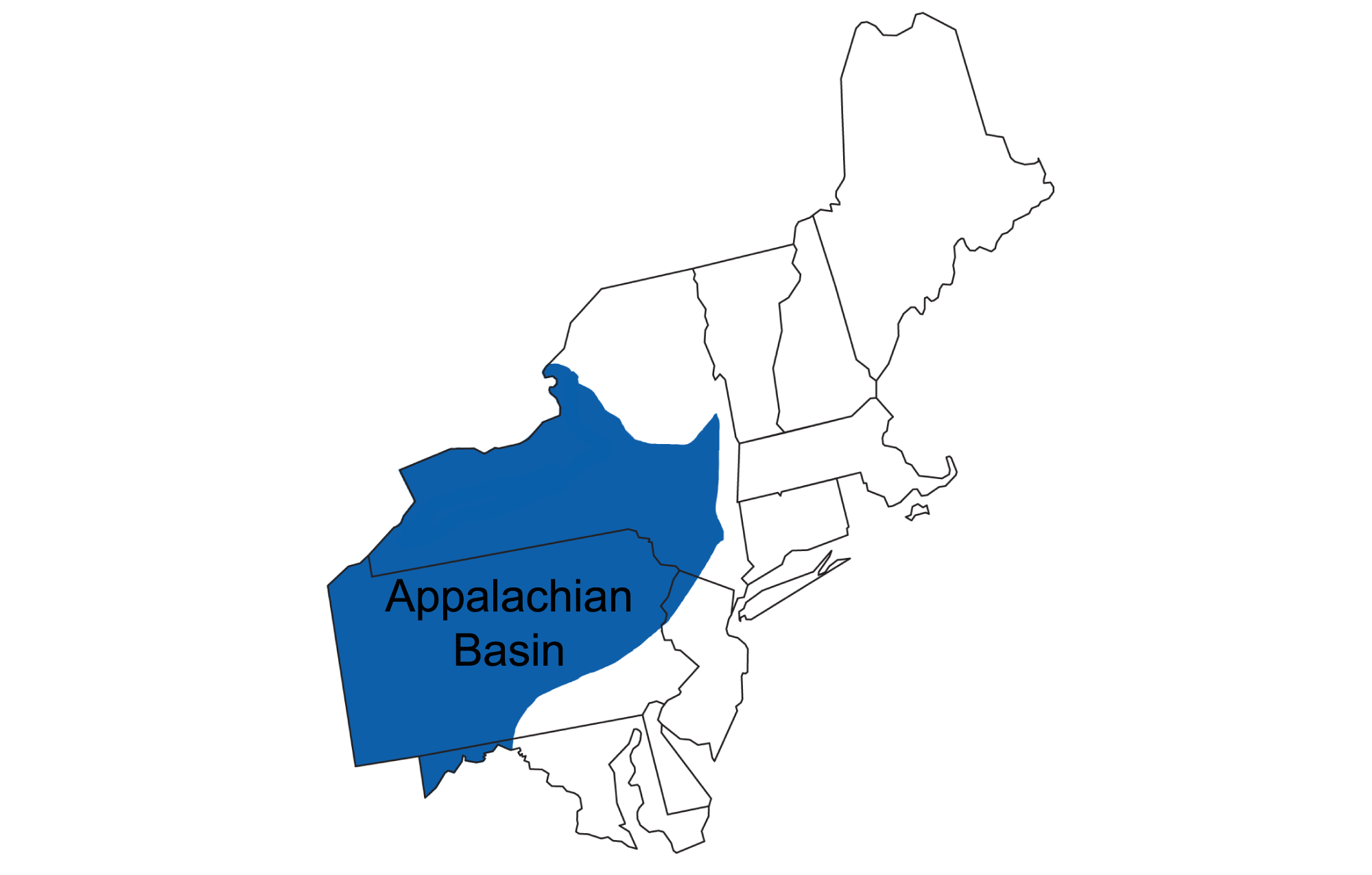 Map showing the position of the Appalachian basin.