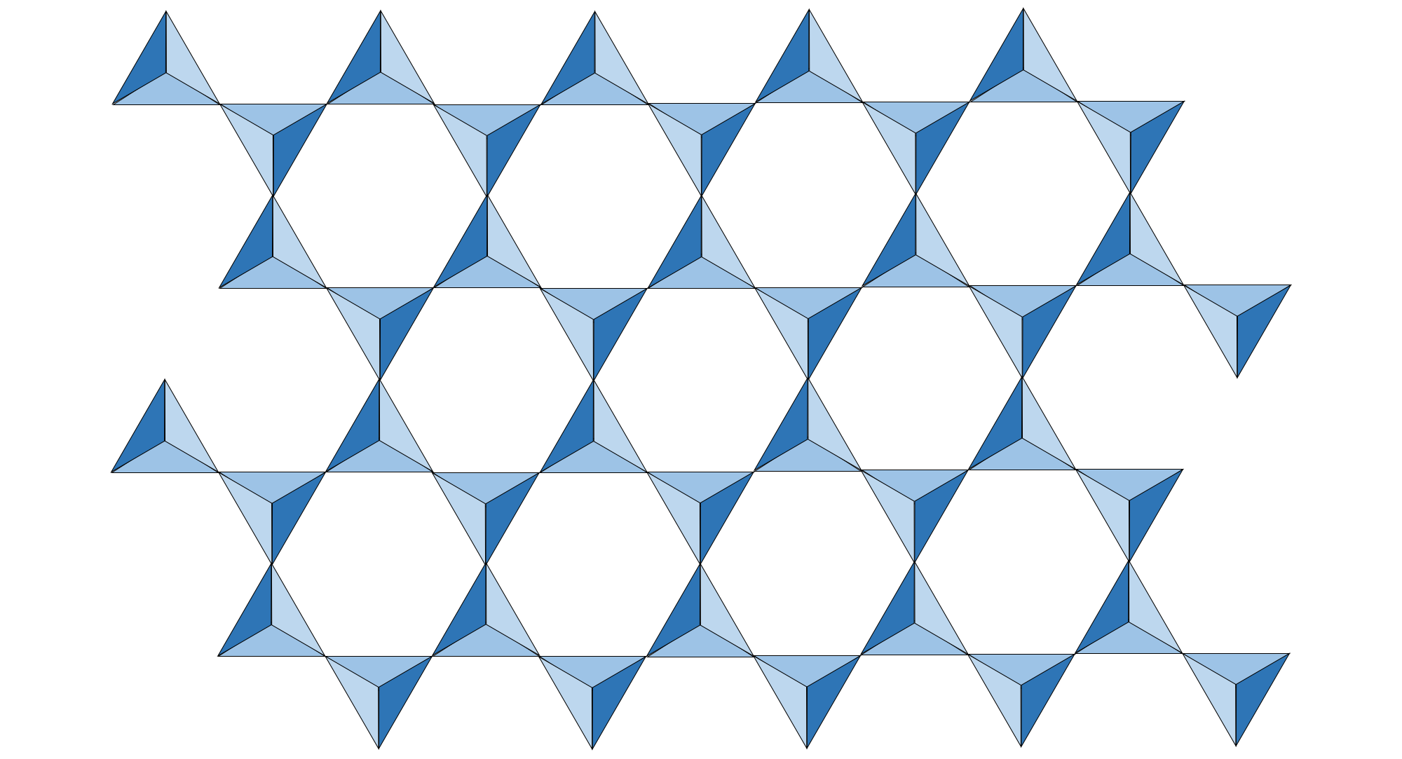 Illustration of a sheet of silicate tetrahedra.