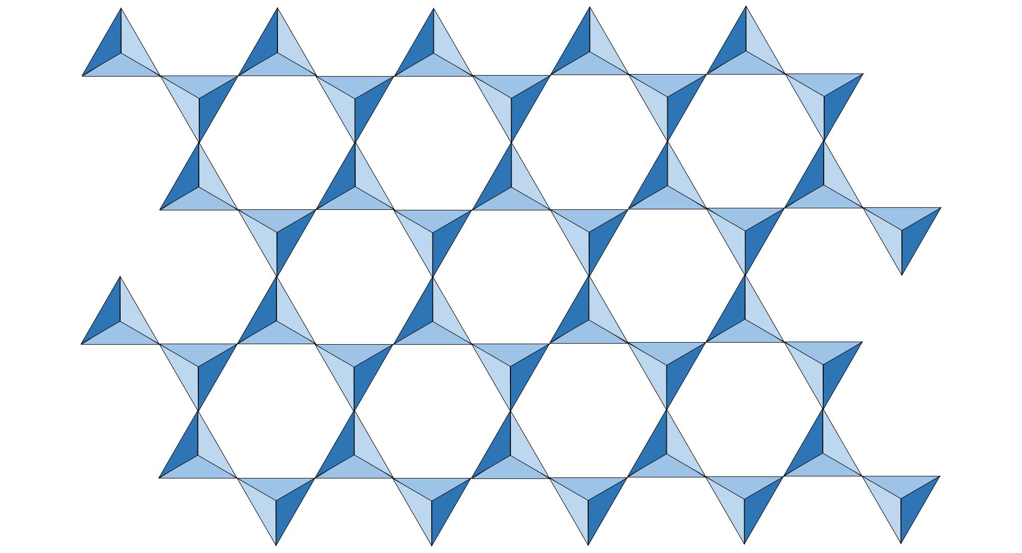 Illustration of a sheet of silicate tetrahedra.
