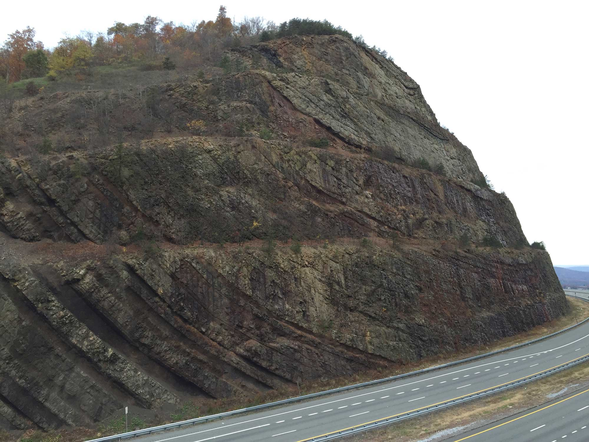 Photograph of a syncline exposed at the Sideling Hill roadcut in Maryland.