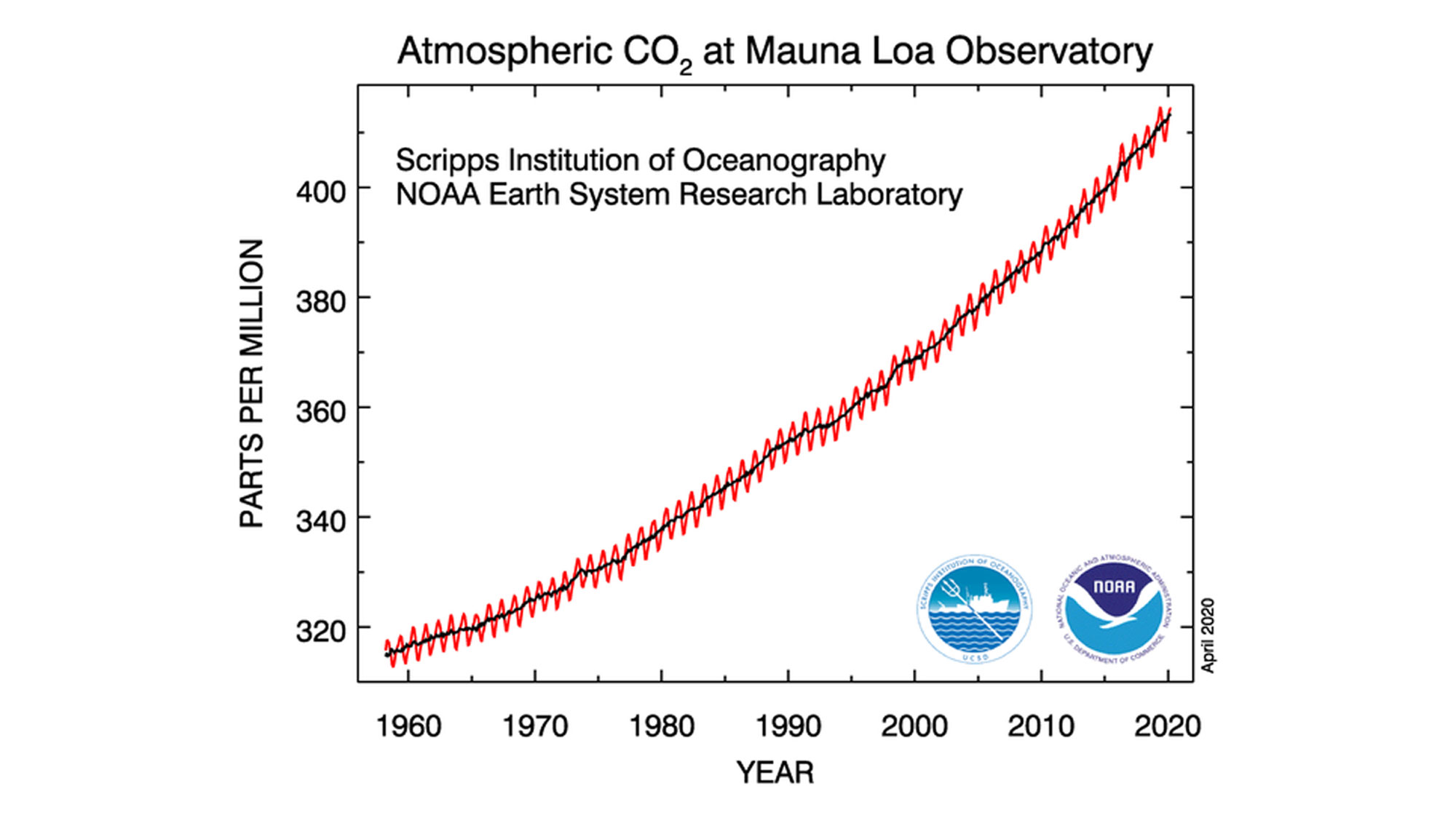 Diagram showing the steady rise in atmospheric CO2 concentration at the Mauna Loa Observatory over nearly 60 years.