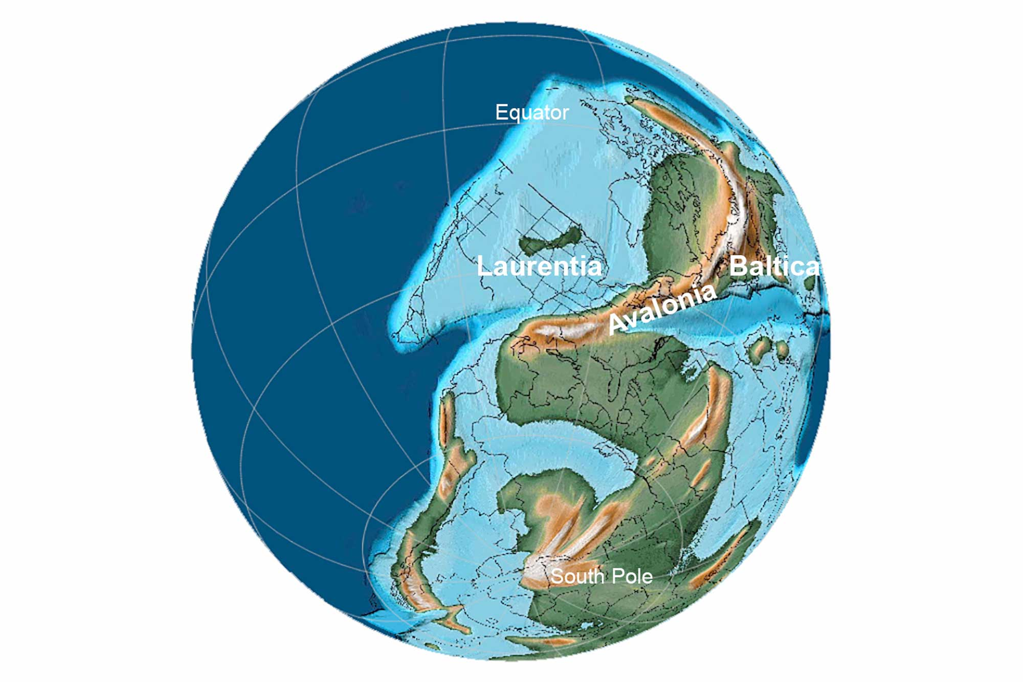 Reconstruction of Earth during the Late Devonian Period.