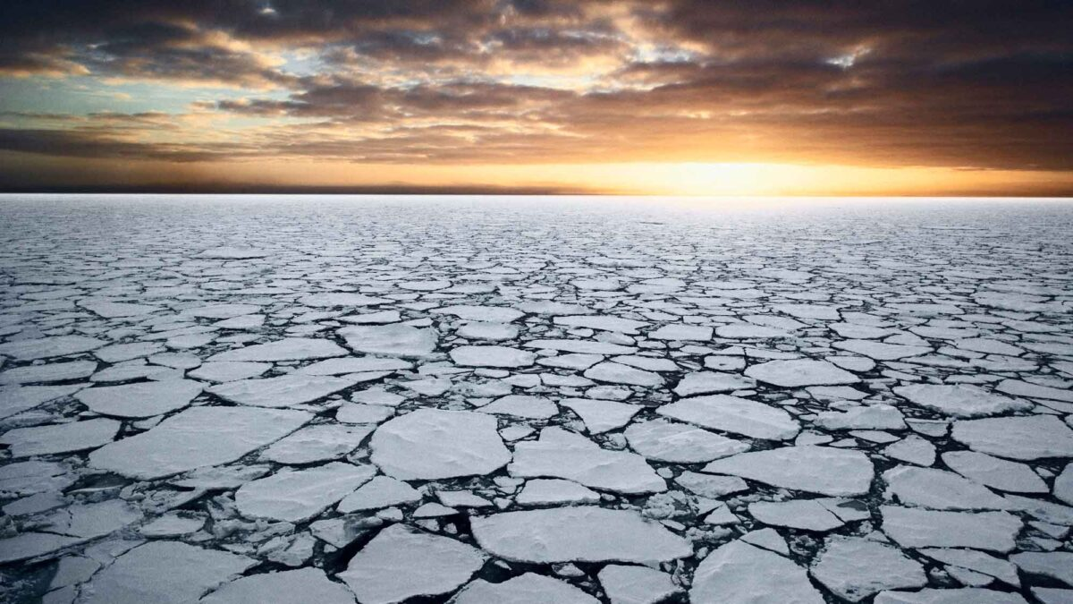 Photograph of sea ice on the Ross Sea, Antarctica.