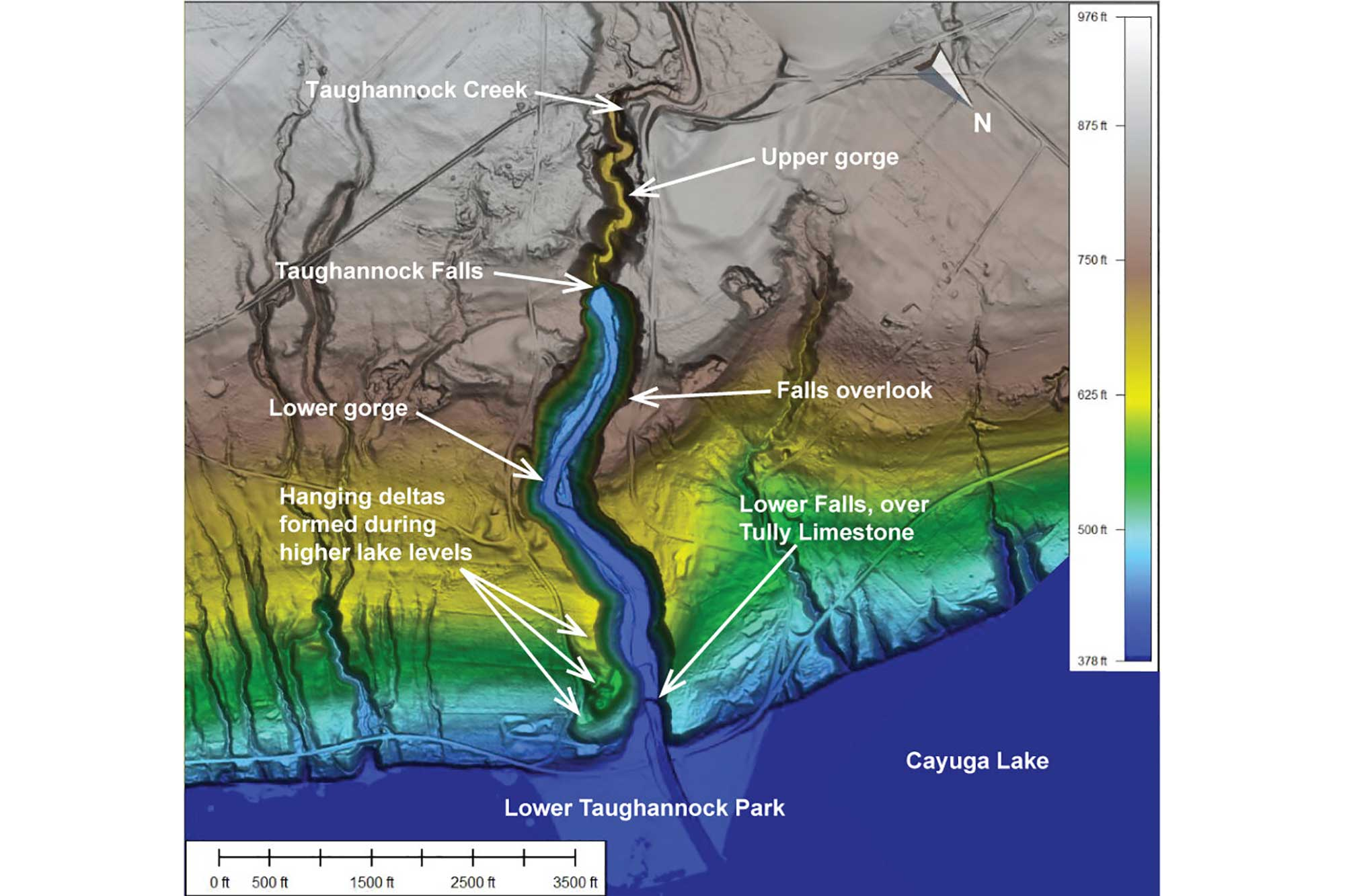 Map showing the topography and major features of Taughannock Falls State Park.