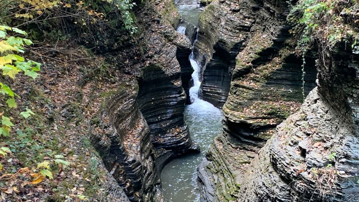 Photograph of a waterfall at Watkins Glen State Park in Central New York State.