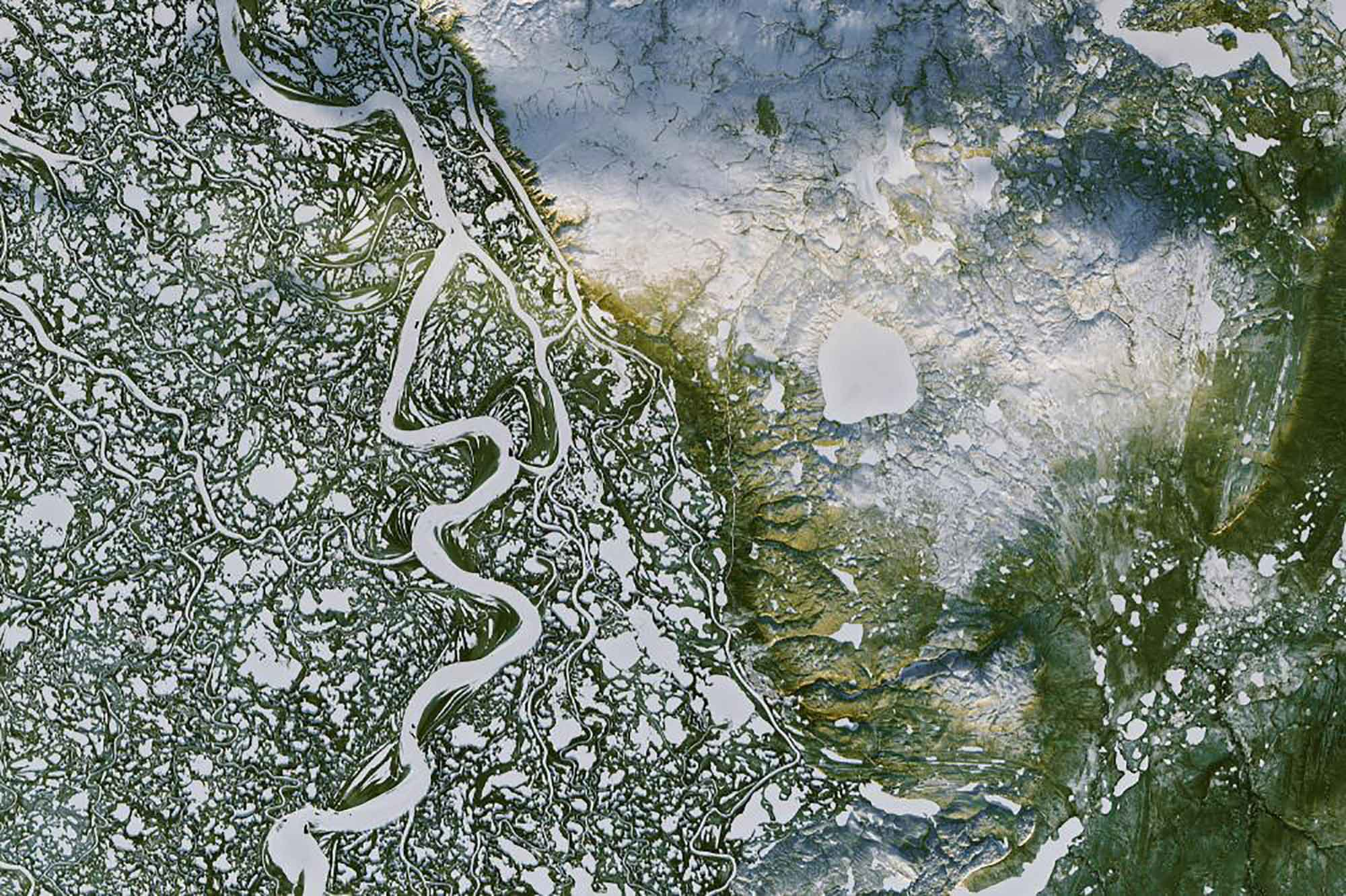 Satellite image of the Mackenzie River Delta.