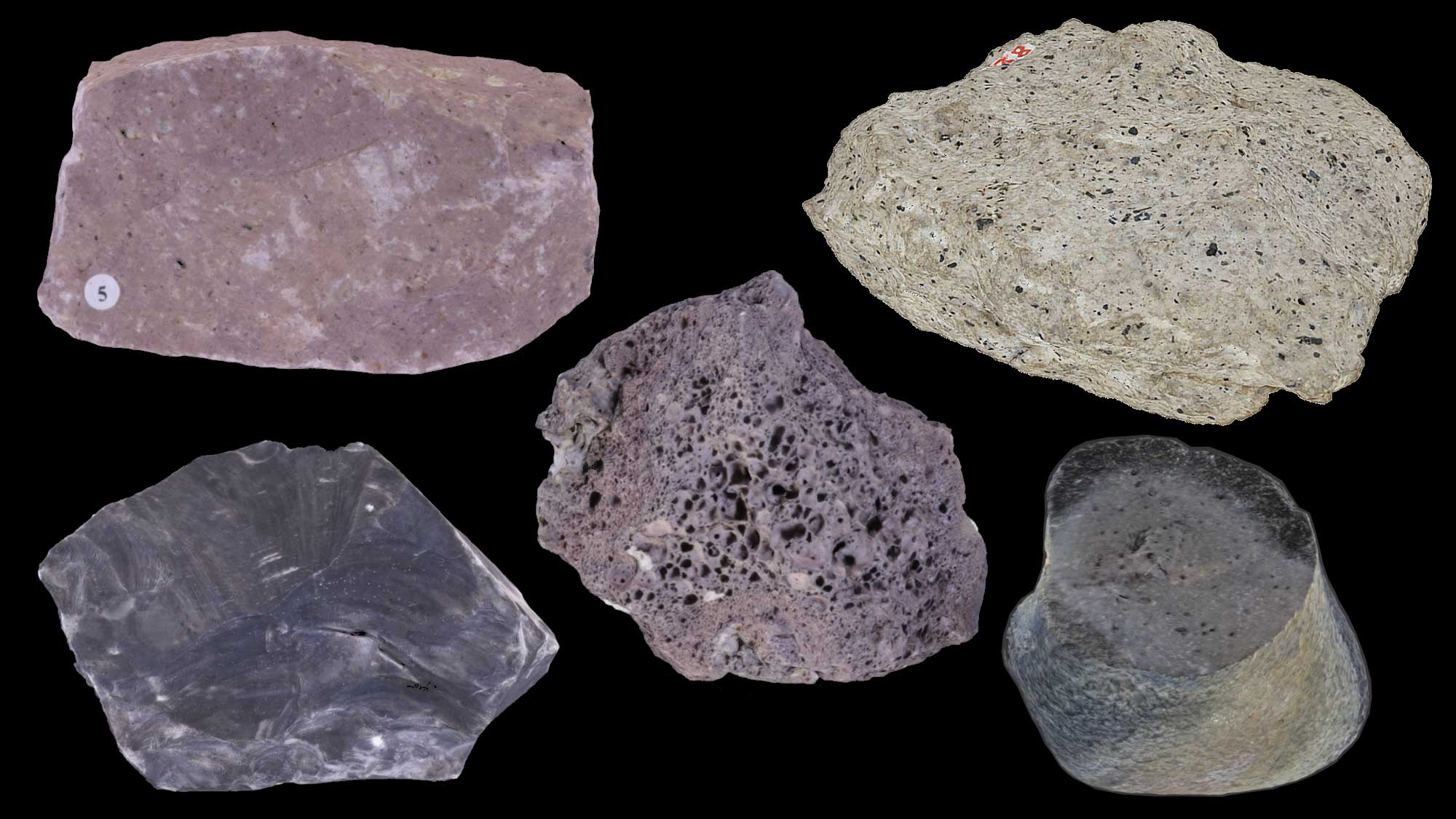 Image of various types of extrusive igneous rocks.