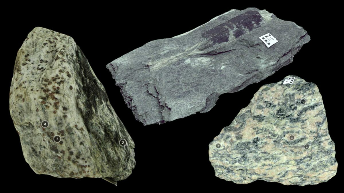 Image shows various types of foliated metamorphic rocks.