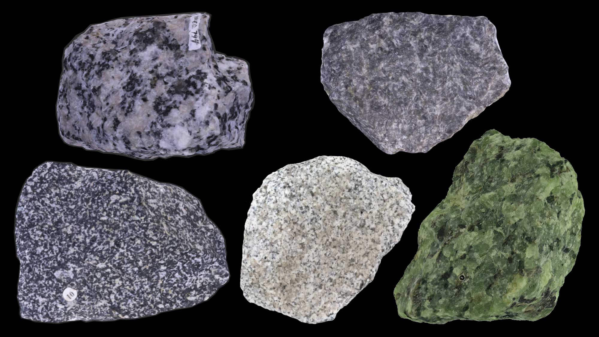 Image of various types of intrusive igneous rocks.