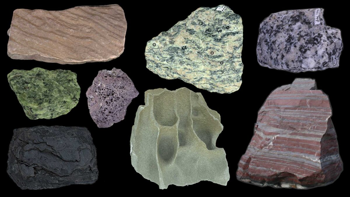 Image showing examples of different types of rocks.