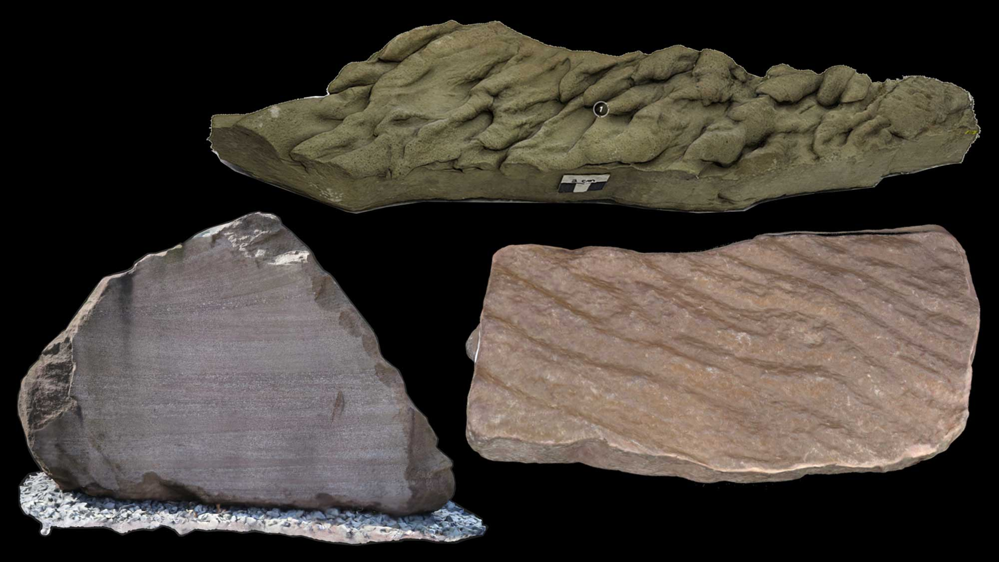 Image shows various types of sedimentary structures.