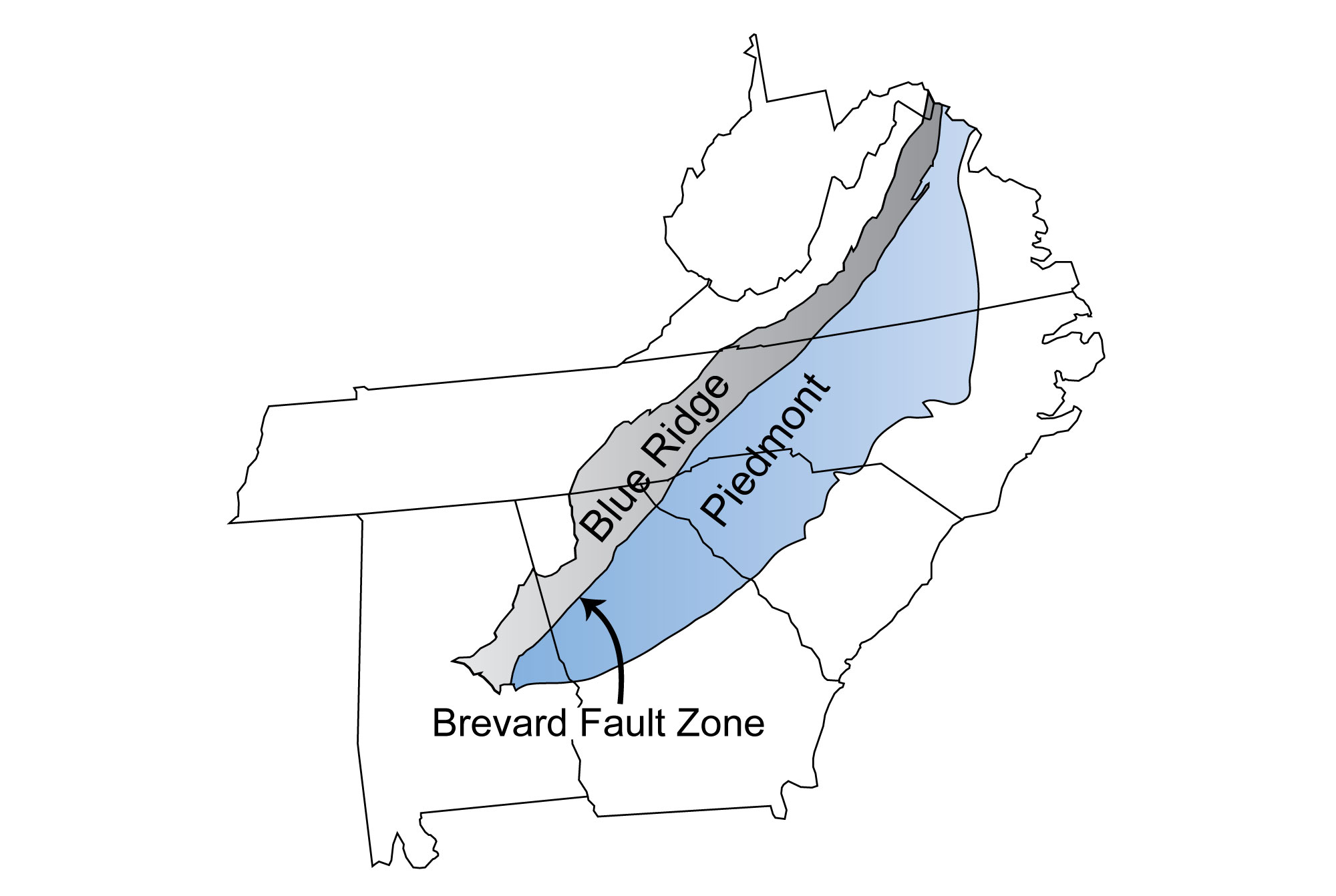 Map depicting the position of the Brevard Fault Zone, which separates the Blue Ridge and Piedmont regions.