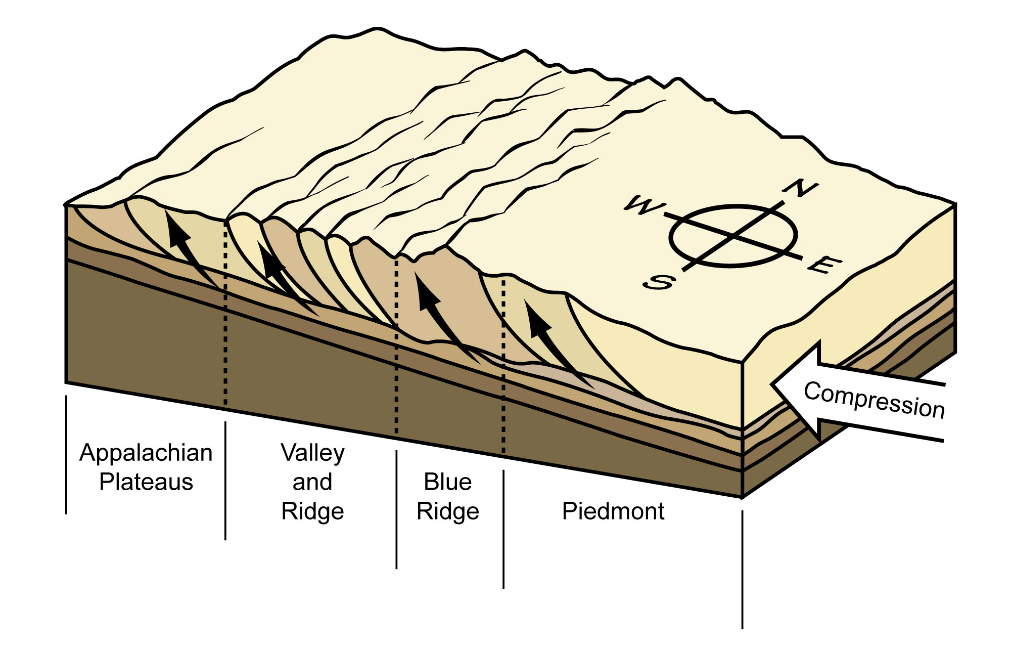 Image depicting how the rust of the Blue Ridge and Piedmont regions were telescoped by compressional forces.