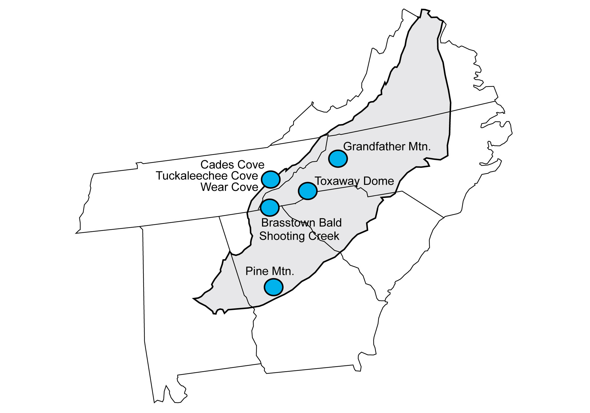 Map showing locations of geologic windows in the Blue Ridge and Piedmont regions.