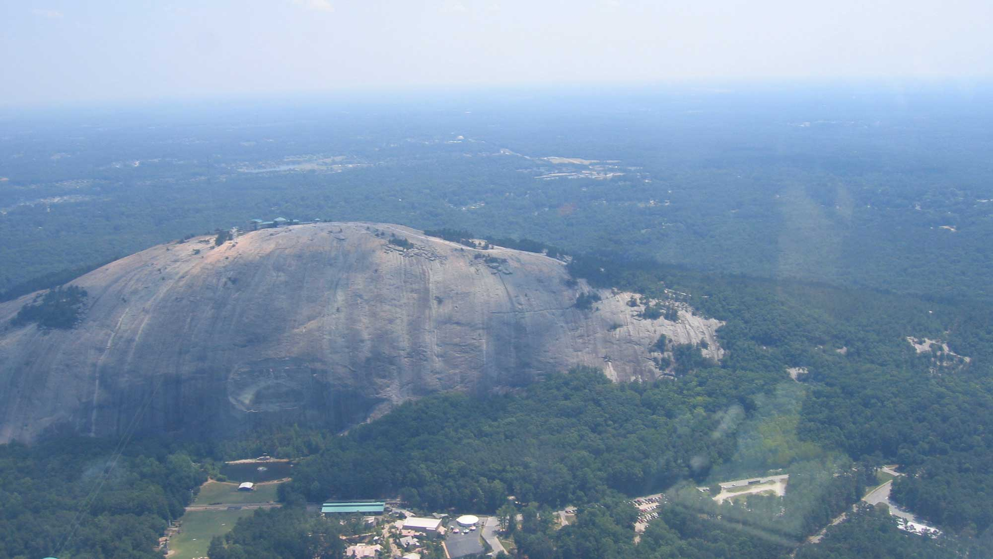 Aerial photograph of Stone Mountain, Georgia.