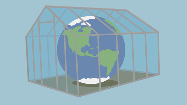 Picture of the Earth inside a greenhouse, a metaphor for the greenhouse effect.