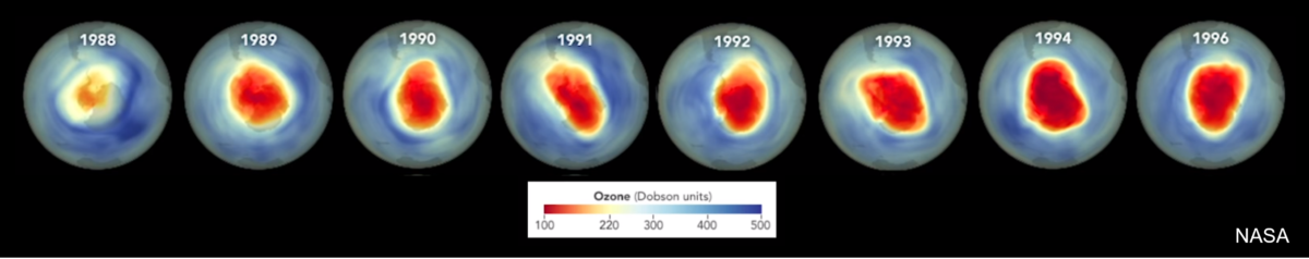 Series of satellite images of the Antarctic ozone hole from 1988 to 1996