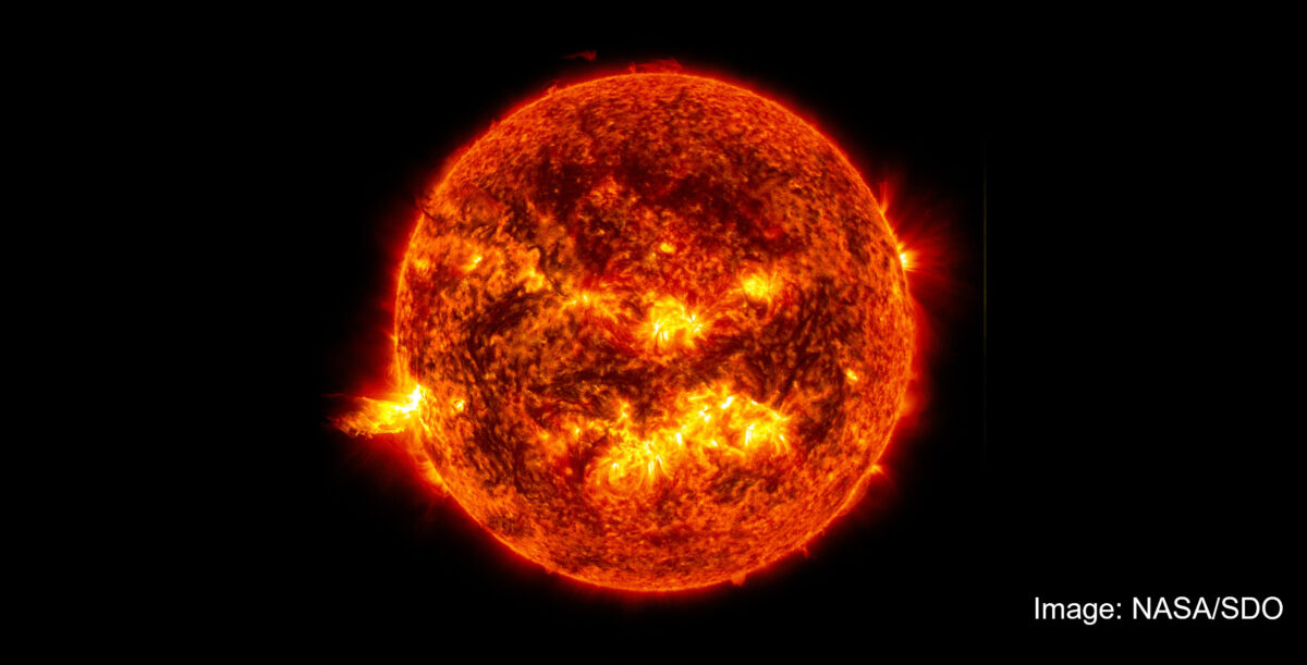Image of the sun, with a solar flare. Image by NASA